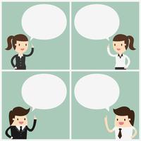 Mensen uit het bedrijfsleven met spraak bubbels set vector