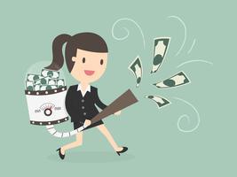 Bedrijfs vrouw die geld met vacuüm aantrekt