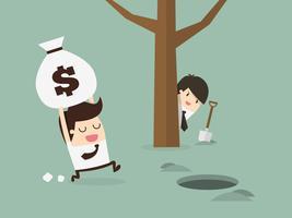 Mens die geld begraven en wordt bespioneerd