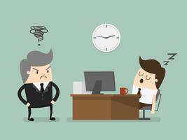 Uitgeputte zakenman die in slaap bij zijn bureau valt vector