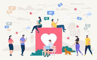 Mensen chatten in sociaal netwerk