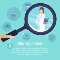 Vind uw team vierkante banner sjabloon