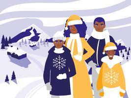 familie kerst in de winter