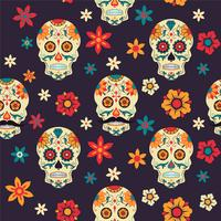Dag van de Doden. Naadloos vectorpatroon met suikerschedels en bloemen op donkere achtergrond.