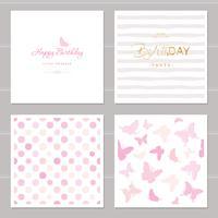 Verjaardagskaarten set inclusief naadloze patronen in pastel roze