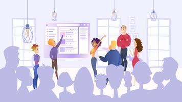 Werknemers presenteren projectidee vector