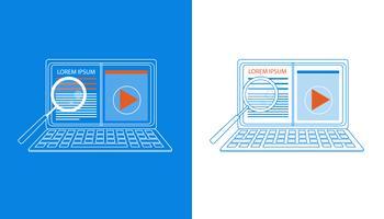 Set met laptop vergrootglas vector