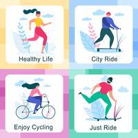 Set van gezonde levensstijl buitenshuis activiteiten