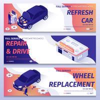 Set van auto reparatie service banners