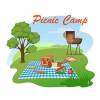 Familie picknick op weide