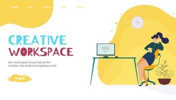 Landingspagina van Creative Office Workplace vector