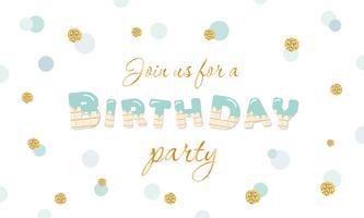 Uitnodiging voor verjaardagsfeestje op polka dot feestelijke achtergrond met glitter