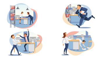 Set van gestresste mensen uit het bedrijfsleven vector