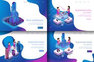 Set van webpagina's met virtuele realiteitsprocessen