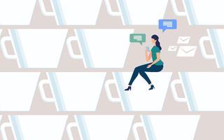 Vrouw online chatten op koffiepauze