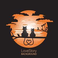 Katten liefdesverhaal illustratie vector