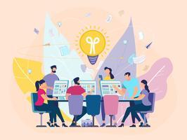 Creatief idee zoeken Teamwork motiveren banner vector