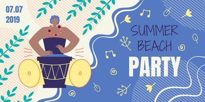 Uitnodigingskaart voor zomer strandfeest