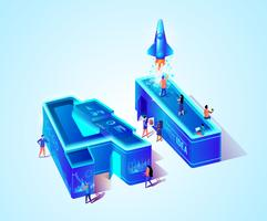 3D Neon AI isometrische letters vector