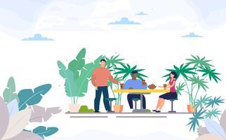 Vrienden drinken koffie in Street Cafe vector