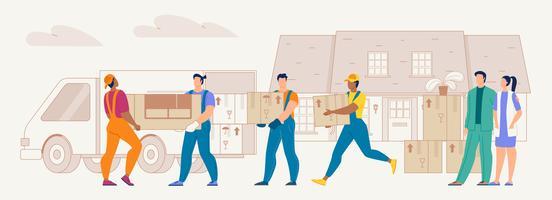 Home Relocation Service Workers op het werk vector