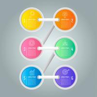 Tekenladder creatief concept voor infographic met 6 opties vector