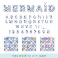 Zeemeermin lettertype en naadloze patronen instellen voor verjaardagskaarten, posters