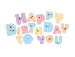 Gefeliciteerd met je verjaardag kawaii gewaagde kleurrijke letters