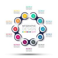 Cirkel gekoppelde infographics vector
