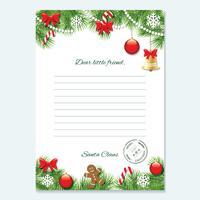 Kerst brief van Santa Claus-sjabloon. vector
