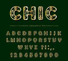 Gouden luxe uitgesneden decoratief lettertype
