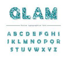 Glitter confetti blauwe lettertype geïsoleerd op wit vector