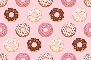 Naadloos patroon met geglazuurde donuts met roze kleuren