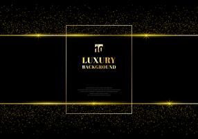 Gouden glitter en glanzend gouden frame op zwarte achtergrond vector