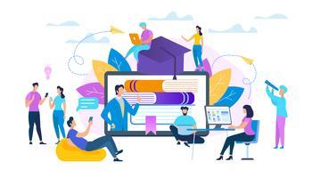Groep studenten kijken naar webinar online vector