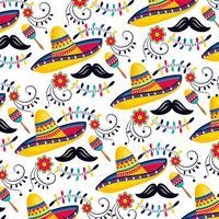 Mexicaanse hoeden met maracas en snorren vector
