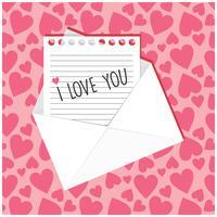 Opmerking met I love you geschreven op het in envelop vector