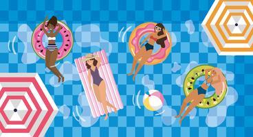 vrouw die zon in het zwembad op floaties vector