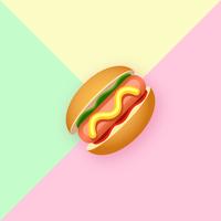 Stijlvolle Hot Dog Pop-kleurenachtergrond vector