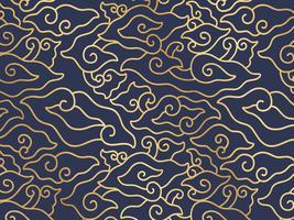 Megamendung Batik gouden schetspatroon vector