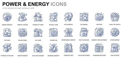 Power Industry en Energy Line Icons vector