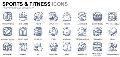 Sport en fitness lijn pictogrammen