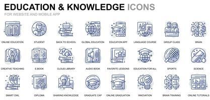 Online onderwijs lijn pictogrammen