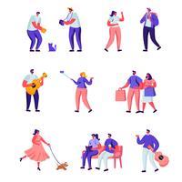 Set van platte straatmuzikanten en voetgangers tekens