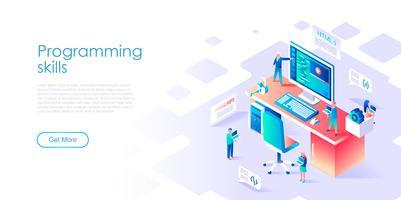 Isometrisch concept van programmeervaardigheden voor banner en website
