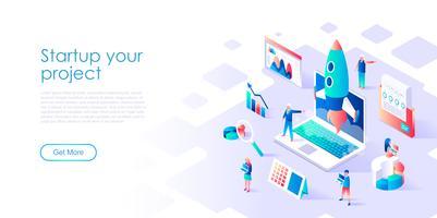 Isometrisch concept van opstarten van uw project voor banner en website vector