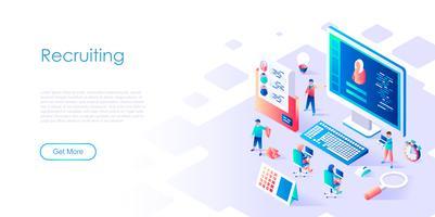 Isometrisch concept van werving voor banner en website