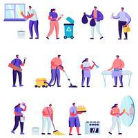 Set van platte huishoudelijke activiteiten, man voor een uur Set