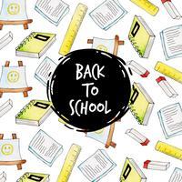 Notebook en liniaal aquarel terug naar school patroon achtergrond