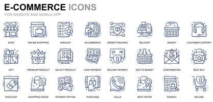 E-commerce en winkelen lijn pictogrammen